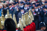 Remembrance Sunday at the Cenotaph 2015: The helmets of the Household Cavalry detachment, in the background, and out of focus, the Transport for London group waiting for the March Past. Image #356, 08 November 2015 11:35 Whitehall, London, UK