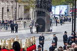 Remembrance Sunday at the Cenotaph 2015: The eastern side of Whitehall, with the Memorial for Women in World War II, after the end of the March Past. Image #358, 08 November 2015 12:24 Whitehall, London, UK