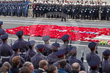 Remembrance Sunday at the Cenotaph 2015: After the March Past - a field of wreaths at the Cenotaph. Image #360, 08 November 2015 12:24 Whitehall, London, UK