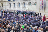 Remembrance Sunday at the Cenotaph 2015: After the March Past - the Massed Bands are marching off. Image #361, 08 November 2015 12:27 Whitehall, London, UK