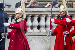 Remembrance Sunday at the Cenotaph 2015: After the March Past - the Household Cavalry is marching off. Image #366, 08 November 2015 12:31 Whitehall, London, UK