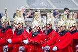 Remembrance Sunday at the Cenotaph 2015: After the March Past - the Household Cavalry is marching off. Image #367, 08 November 2015 12:31 Whitehall, London, UK