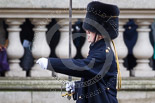 Remembrance Sunday at the Cenotaph 2015: Captain Julie Navarro, Right Section Commander at the Royal Horse Artillery, commanding the detachment on parade as they are leaving Whitehall. Image #368, 08 November 2015 12:31 Whitehall, London, UK