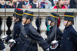 Remembrance Sunday at the Cenotaph 2015: Members of the Royal Horse Artillery detachment leaving Whitehall. Image #369, 08 November 2015 12:31 Whitehall, London, UK