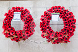 """Remembrance Sunday at the Cenotaph 2015: David Cameron's and Jeremy Corbyn's wreath. David Cameron: """"In memory of those who gave everything for our freedom and our way of life. They will not be forgotten"""". Jeremy Corbyn: """"In memory of the fallen in all wars. Let us resolve to create a world of peace"""". Image #375, 08 November 2015 12:41 Whitehall, London, UK"""