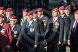 March Past, Remembrance Sunday at the Cenotaph 2016: D01 The Parachute Regimental Association. Cenotaph, Whitehall, London SW1, London, Greater London, United Kingdom, on 13 November 2016 at 12:58, image #1246