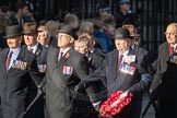 March Past, Remembrance Sunday at the Cenotaph 2016: F08 Queen's Bodyguard of The Yeoman of The Guard. Cenotaph, Whitehall, London SW1, London, Greater London, United Kingdom, on 13 November 2016 at 13:10, image #2172