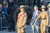 March Past, Remembrance Sunday at the Cenotaph 2016: F13 National Malayan & Borneo Veterans Association. Cenotaph, Whitehall, London SW1, London, Greater London, United Kingdom, on 13 November 2016 at 13:10, image #2212