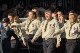 March Past, Remembrance Sunday at the Cenotaph 2016: M33 Scout Association. Cenotaph, Whitehall, London SW1, London, Greater London, United Kingdom, on 13 November 2016 at 13:18, image #2842