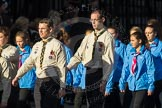 March Past, Remembrance Sunday at the Cenotaph 2016: M33 Scout Association. Cenotaph, Whitehall, London SW1, London, Greater London, United Kingdom, on 13 November 2016 at 13:18, image #2852