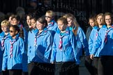 March Past, Remembrance Sunday at the Cenotaph 2016: M34 Girlguiding UK. Cenotaph, Whitehall, London SW1, London, Greater London, United Kingdom, on 13 November 2016 at 13:18, image #2859