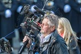 March Past, Remembrance Sunday at the Cenotaph 2016: The BBC Steadicam-operator after a day's ork with a heavy beast of a camera. Cenotaph, Whitehall, London SW1, London, Greater London, United Kingdom, on 13 November 2016 at 13:22, image #3092
