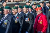 The Royal Marines Association  (Group E2, 59 members)during the Royal British Legion March Past on Remembrance Sunday at the Cenotaph, Whitehall, Westminster, London, 11 November 2018, 11:41.