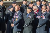 The Aircraft Handlers Association  (Group E4, 58 members) during the Royal British Legion March Past on Remembrance Sunday at the Cenotaph, Whitehall, Westminster, London, 11 November 2018, 11:42.