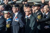 HMS Illustrious Association  (Group E22, 45 members) during the Royal British Legion March Past on Remembrance Sunday at the Cenotaph, Whitehall, Westminster, London, 11 November 2018, 11:44.