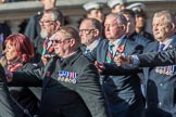 HMS Glasgow Association  (Group E29, 29 members) during the Royal British Legion March Past on Remembrance Sunday at the Cenotaph, Whitehall, Westminster, London, 11 November 2018, 11:44.