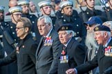 Royal Fleet Auxiliary Association  (Group E33, 15 members) during the Royal British Legion March Past on Remembrance Sunday at the Cenotaph, Whitehall, Westminster, London, 11 November 2018, 11:45.