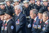 The Queen's Body Guard of the Yeomen of the Guard (Group F10, 15 members) during the Royal British Legion March Past on Remembrance Sunday at the Cenotaph, Whitehall, Westminster, London, 11 November 2018, 11:51.