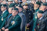 Royal Green Jackets (Group A2, 153 members) during the Royal British Legion March Past on Remembrance Sunday at the Cenotaph, Whitehall, Westminster, London, 11 November 2018, 11:55.