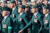 The Rifles Regimental Association (Group A3, 21 members) during the Royal British Legion March Past on Remembrance Sunday at the Cenotaph, Whitehall, Westminster, London, 11 November 2018, 11:56.