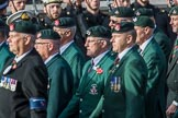 The Light Infantry Association (Group A4, 26 members) during the Royal British Legion March Past on Remembrance Sunday at the Cenotaph, Whitehall, Westminster, London, 11 November 2018, 11:56.