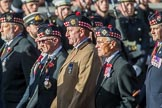 The Royal Scots Regimental Association (Group A8, 25 members) during the Royal British Legion March Past on Remembrance Sunday at the Cenotaph, Whitehall, Westminster, London, 11 November 2018, 11:56.