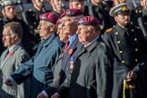 Guards Parachute Association (Group A20, 24 members) during the Royal British Legion March Past on Remembrance Sunday at the Cenotaph, Whitehall, Westminster, London, 11 November 2018, 11:59.
