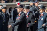 The Northumberland Fusiliers All Ranks Club (Group A34, 41 members) during the Royal British Legion March Past on Remembrance Sunday at the Cenotaph, Whitehall, Westminster, London, 11 November 2018, 12:02.