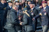 The BBC steadycam team with the approaching Royal Army Ordnance Corps Association (Group B1, 33 members) during the Royal British Legion March Past on Remembrance Sunday at the Cenotaph, Whitehall, Westminster, London, 11 November 2018, 12:05.