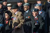 656 Squadron Association (Group B8, 24 members) during the Royal British Legion March Past on Remembrance Sunday at the Cenotaph, Whitehall, Westminster, London, 11 November 2018, 12:07.