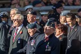 Royal Air Forces Association (Group C1, 155 members) during the Royal British Legion March Past on Remembrance Sunday at the Cenotaph, Whitehall, Westminster, London, 11 November 2018, 12:14..