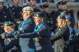 WAAF WRAF RAF(W) Association (Group C17, 21 members) during the Royal British Legion March Past on Remembrance Sunday at the Cenotaph, Whitehall, Westminster, London, 11 November 2018, 12:17.