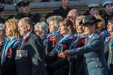 Princess Mary's Royal Air Force Nursing Association (Group C22, 38 members) during the Royal British Legion March Past on Remembrance Sunday at the Cenotaph, Whitehall, Westminster, London, 11 November 2018, 12:17.