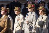 FANY (PRVC) (Group D1, 53 members) during the Royal British Legion March Past on Remembrance Sunday at the Cenotaph, Whitehall, Westminster, London, 11 November 2018, 12:20.
