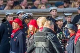The War Widows' Association  of Great Britain (Group D7, 47 members) during the Royal British Legion March Past on Remembrance Sunday at the Cenotaph, Whitehall, Westminster, London, 11 November 2018, 12:21.