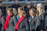 RNRM Widows Association  (Group D8, 10 members) during the Royal British Legion March Past on Remembrance Sunday at the Cenotaph, Whitehall, Westminster, London, 11 November 2018, 12:21.