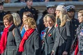 The War Widows' Association  of Great Britain (Group D7, 47 members) and RNRM Widows Association  (Group D8, 10 members) during the Royal British Legion March Past on Remembrance Sunday at the Cenotaph, Whitehall, Westminster, London, 11 November 2018, 12:21.