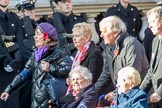 Munitions Workers Association (Group M3, 21 members) during the Royal British Legion March Past on Remembrance Sunday at the Cenotaph, Whitehall, Westminster, London, 11 November 2018, 12:25.