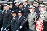 St John Ambulance (Group M12, 25 members) during the Royal British Legion March Past on Remembrance Sunday at the Cenotaph, Whitehall, Westminster, London, 11 November 2018, 12:26.