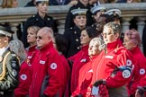 British Red Cross (Group M13, 15 members) during the Royal British Legion March Past on Remembrance Sunday at the Cenotaph, Whitehall, Westminster, London, 11 November 2018, 12:26.