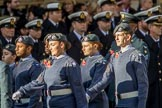 RAF- and Army Cadets (Group M35, ?? members) during the Royal British Legion March Past on Remembrance Sunday at the Cenotaph, Whitehall, Westminster, London, 11 November 2018, 12:29.