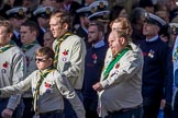 The Scout Association (Group M36, 30 members) during the Royal British Legion March Past on Remembrance Sunday at the Cenotaph, Whitehall, Westminster, London, 11 November 2018, 12:30.