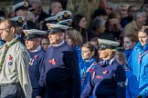 Royal National Lifeboat Institution (Group M37, 6 members) during the Royal British Legion March Past on Remembrance Sunday at the Cenotaph, Whitehall, Westminster, London, 11 November 2018, 12:30.