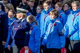 Royal National Lifeboat Institution (Group M37, 6 members) and Girlguiding London and South East England(Group M38, 40 members) during the Royal British Legion March Past on Remembrance Sunday at the Cenotaph, Whitehall, Westminster, London, 11 November 2018, 12:30.