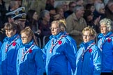 Girlguiding London and South East England(Group M38, 40 members) during the Royal British Legion March Past on Remembrance Sunday at the Cenotaph, Whitehall, Westminster, London, 11 November 2018, 12:30.