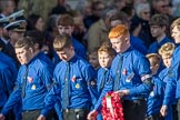 The Boys' Brigade (Group M39, 79 members) during the Royal British Legion March Past on Remembrance Sunday at the Cenotaph, Whitehall, Westminster, London, 11 November 2018, 12:30.