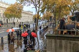 Whitehall on a wet morning before the Remembrance Sunday Cenotaph Ceremony 2018 at Horse Guards Parade, Westminster, London, 11 November 2018, 08:08.