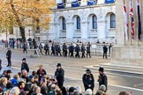 More police arriving on Whitehall before the  Remembrance Sunday Cenotaph Ceremony 2018 at Horse Guards Parade, Westminster, London, 11 November 2018, 08:38.