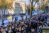 Crowds of spectators are building on on Whitehall before the   Remembrance Sunday Cenotaph Ceremony 2018 at Horse Guards Parade, Westminster, London, 11 November 2018, 08:39.