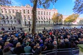 Fish eye view from the press stand on Whitehall opposite the Foreign and Commonwealth Office before  Remembrance Sunday Cenotaph Ceremony 2018 at Horse Guards Parade, Westminster, London, 11 November 2018, 08:56.